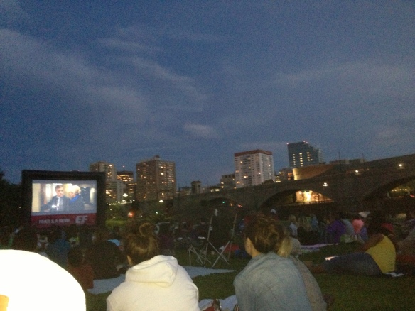 Outdoor movie on the Charles